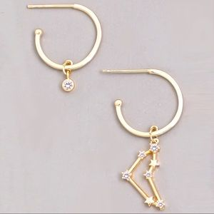 Jewelry - CAPRICORN Zodiac Star Gold Huggie Hoop Earrings